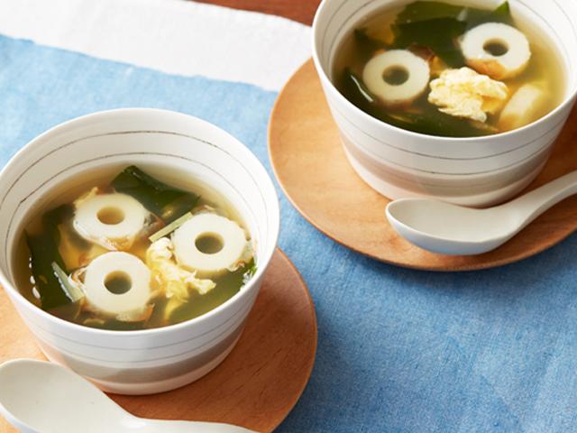 焼ちくわダシとふわふわ卵のスープ