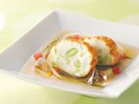 魚丸あげ枝豆と夏野菜の冷製揚げ出し風