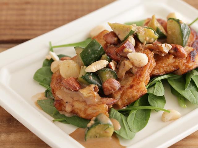 玉ねぎ天の棒棒鶏風サラダ