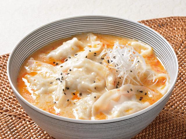 スープ餃子の担々風