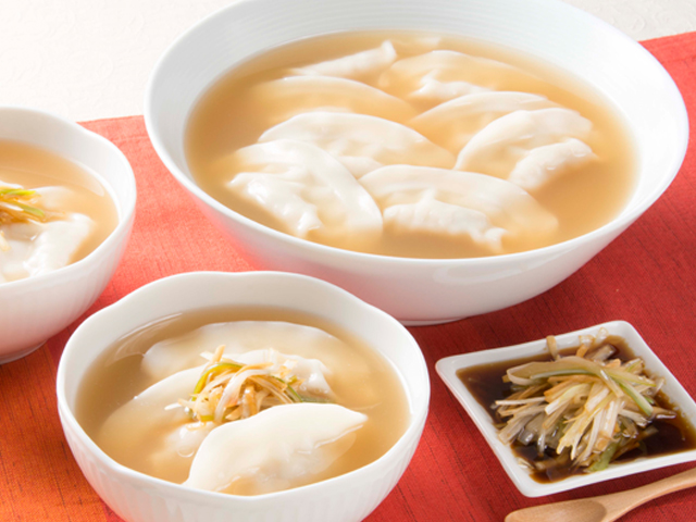 香味ねぎだれで食べるスープ餃子