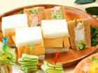 サンドウィッチ2種(切れてる厚焼玉子とサラダしたらばのタルタルサンド)