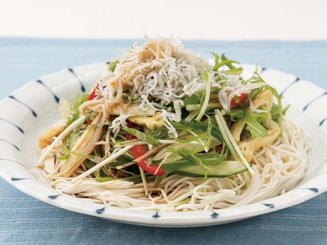 とうふそうめん風の水菜としらすのサラダ麺